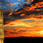 Big Ben at sunset panorama, London — Stock Photo