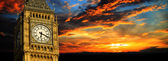 Big Ben at sunset panorama, London — Stock Photo
