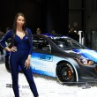 Hostess with Hyundai i20 WRC on display at the 11th edition of International Autosalon Brno — Stock Photo