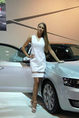 Hostess with Skoda Octavia 3rd Generation on display at the 11th edition of International Autosalon Brno — Stock Photo