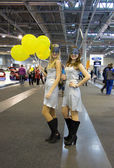 Construct Hostesses on display at the 11th edition of International Autosalon Brno — Stock Photo