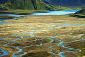 Wild river delta with mountains, Iceland — Stock Photo