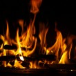 图库照片: Fire in fireplace, fire flames on black background
