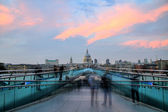 St Pauls cathedral view from the Millennium Bridge at sunset, London — Stock Photo