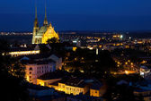 Illuminated St. Peter and Paul Cathedral at night, Brno — Стоковое фото