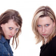 Two angry woman faces the viewer — Stock Photo