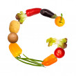 The letter g in various fruits and vegetables — Stock Photo
