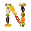 The letter n in various fruits and vegetables — Stock Photo