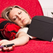 Blond woman asleep with E-Cigarette — Stock Photo
