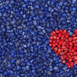 Red heart on blue background — Foto Stock