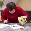 Disabled womlooking desperately for little money — Stok Fotoğraf #34030291