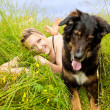 Caucasian woman with her dog — Stock Photo