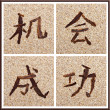 Concept Chinese characters for chance and success — Stock Photo