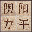 Chinese characters for yin, yang, strength, peace — 图库照片