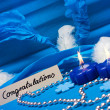 Background in blue, with festive candles — Stock Photo