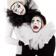 Stock Photo: Couple sorrowful clowns isolated