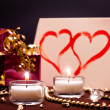 Luxurious background with present and candles — Stock Photo