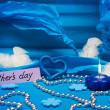 Festive background in blue for Mothers Day — Stock Photo