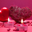 Red romantic background with hearts — Stock Photo