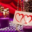 Stock Photo: Elegant background with beads and candles