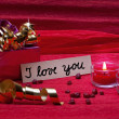 Romantic red background with sign i love you — Stock Photo