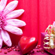 Pink background with gift and heart — Stock Photo