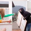 Masked burglar is observed — Stock Photo