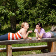 Two women relax in nature — Stock Photo