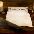 Parchment manuscript with the word Invitation — Stockfoto