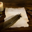 Empty parchment document with feather — Stock Photo