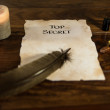 Parchment with the words Top Secret — Stock Photo