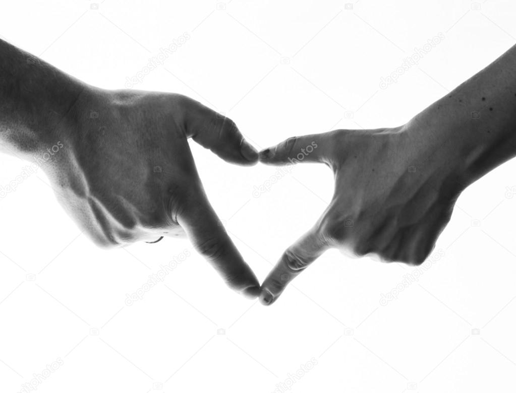 Two hands making a heart shape on a white background/  Stock Photo #19129679