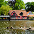 Copenhagen, Denmark - May 25, 2010: View of the lake at Tivoli Gardens. — Stock Photo