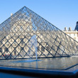 Pyramid in front of Louvre Museum — Stock Photo