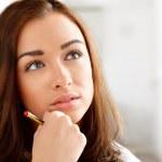 Pretty girl thinking ahead — Stock Photo