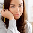 Close-up portrait of sulky teenager — Stock Photo