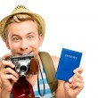 Happy young tourist man holding passport retro camera white back — Stock Photo