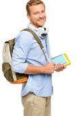 Confident young student back to school on white background — Stock Photo