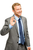 Happy businessman man okay sign - portrait on white background — Stock Photo