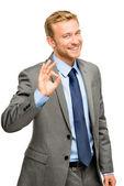 Signo de bien feliz empresario hombre - retrato sobre fondo blanco — Foto de Stock