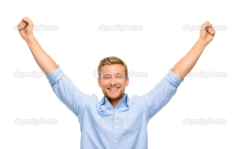 Happy young man celebrating success on white background — Stok fotoğraf #14779619