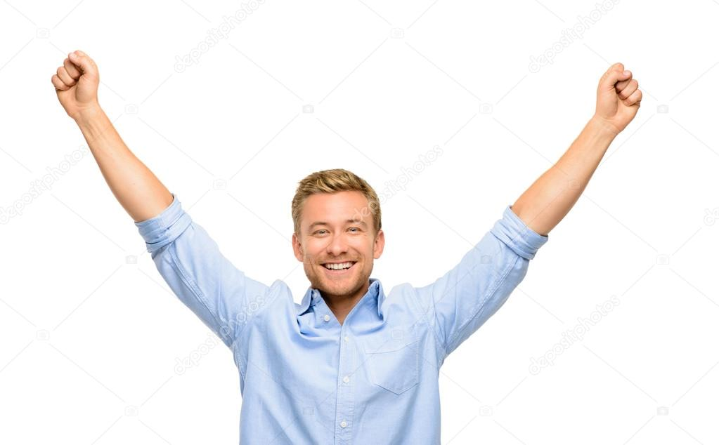 Happy young man celebrating success on white background — Stock fotografie #14779619