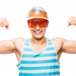 Attractive latin american muscle man showing muscles — Stock Photo