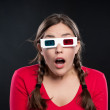 Teenager watching a 3D movie — Stock Photo