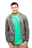 Attractive mixed race man isolated on clean white background — Stock Photo
