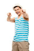 Attractive latin american muscle man pointing — Stock Photo