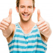 Happy man thumbs up sign — Stock Photo
