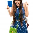 Indian woman tourist is geek white background — Stock Photo
