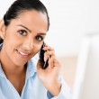 Closeup portrait of happy Indian businesswoman talking using mob — Stock Photo
