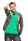 Felice basal giovane uomo dando thymbs cartello sfondo bianco — Foto Stock